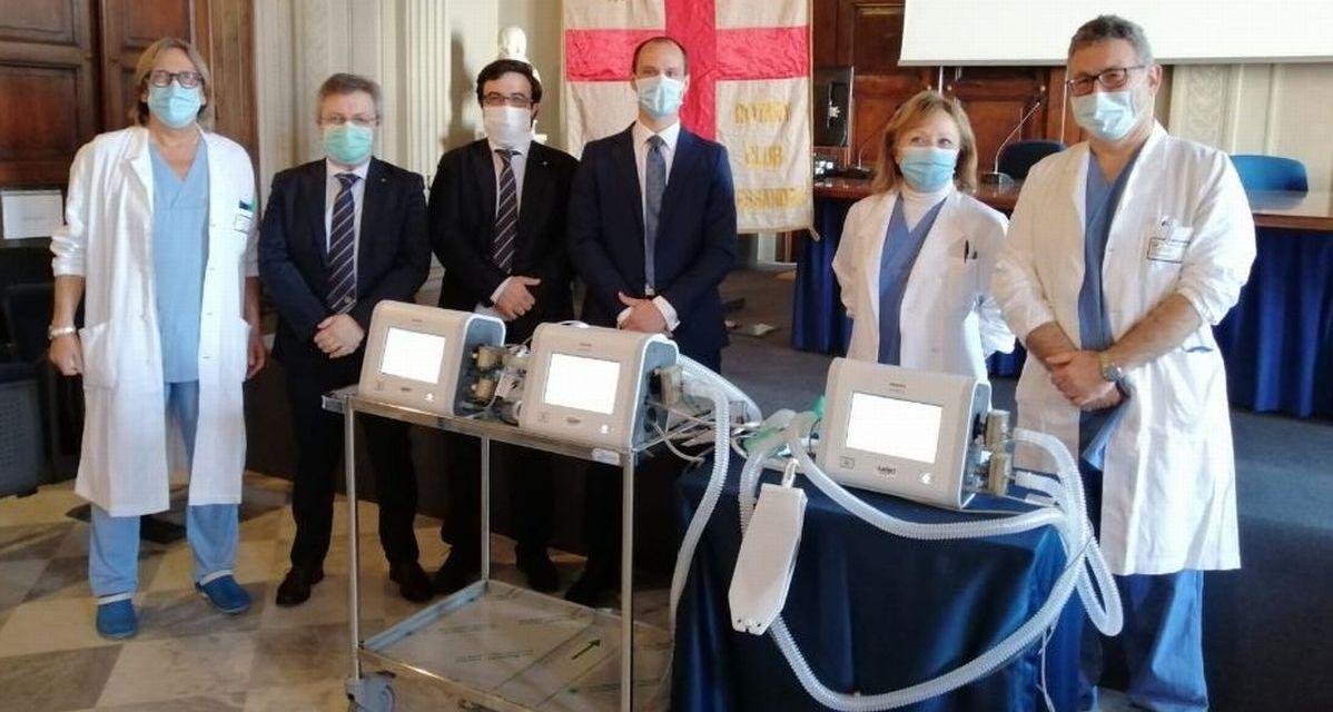 All'ospedalee di Alessandria tre nuovi ventilatori grazie a Rotary