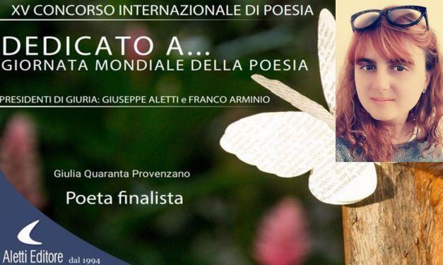 """La dianese Giulia Quaranta Provenzano è finalista al Concorso """"Dedicato a… Giornata Mondiale della Poesia"""""""