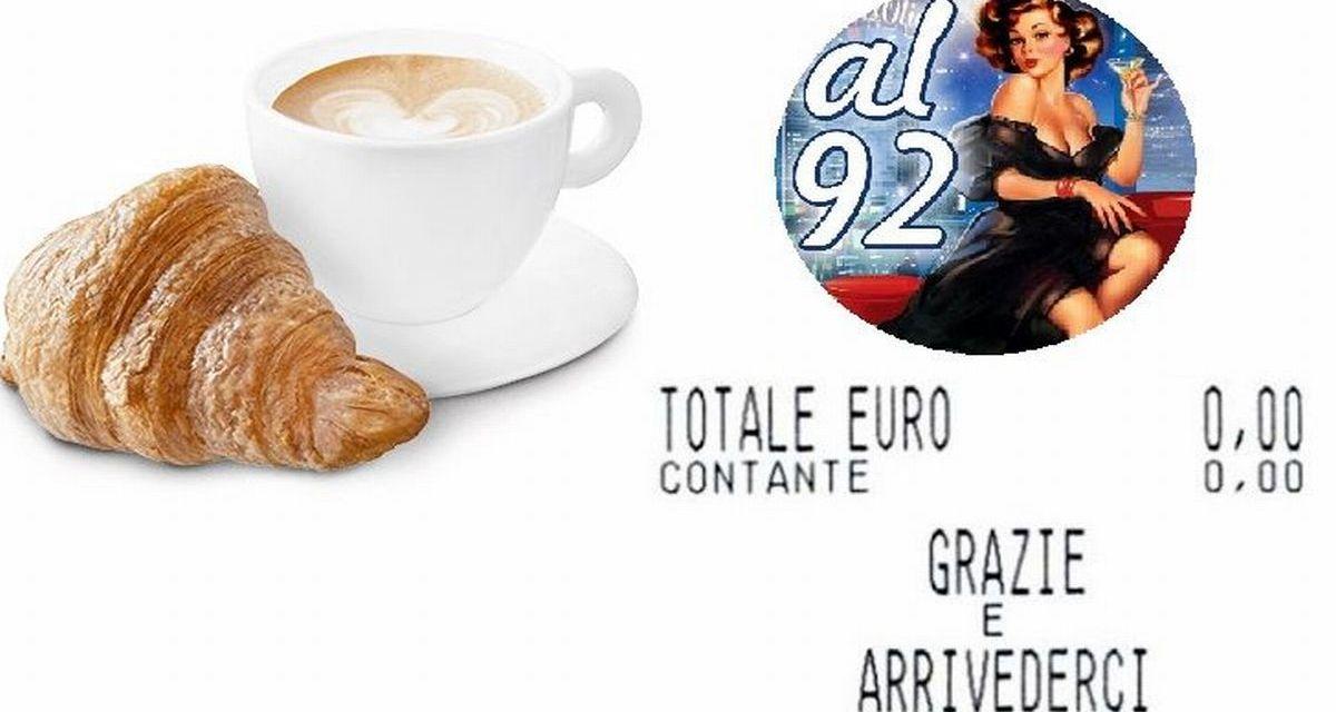 """Martedì ad Alessandria il bar """"AL '92"""" offre la colazione gratis a commercianti e clienti come gesto di buona ripartenza"""