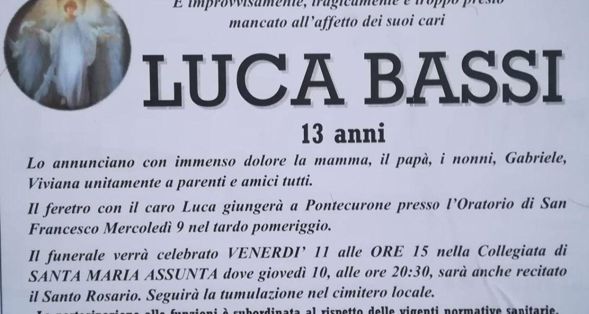 Venerdì a Pontecurone i funerali di Luca Bassi, il 13enne calciatore dell'Audax morto in un incidente stradale