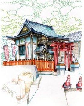Temple sur Manabeshima (dessin de Florent Chavouet)