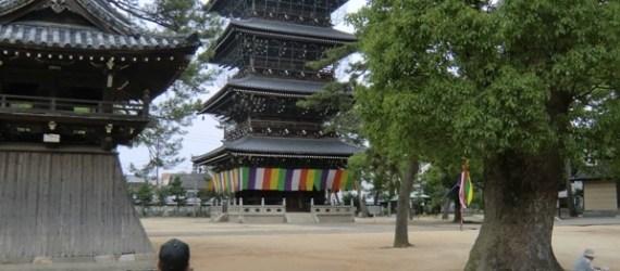 Homme se tenant devant la pagode de Zentsū-ji