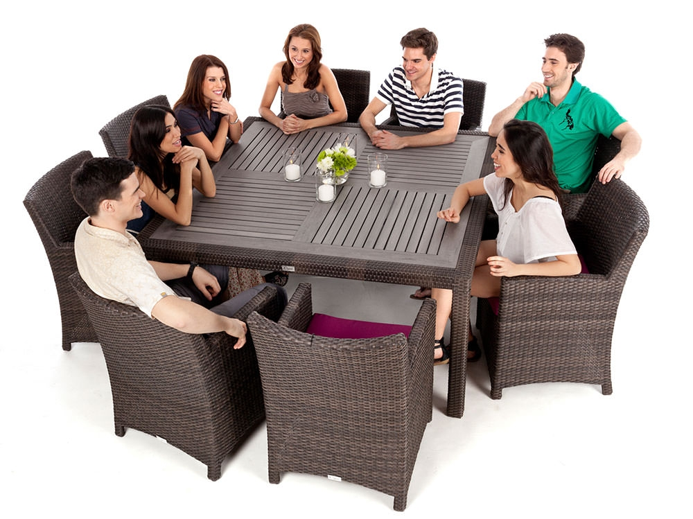 nico square wood top patio dining table for 8 people