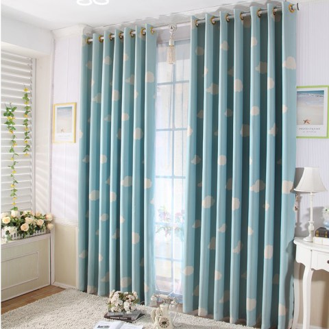 Blue Sky and White Clouds Printing Blue Curtains for Kids Bedroom         Curtains for Kids Bedroom  Loading zoom