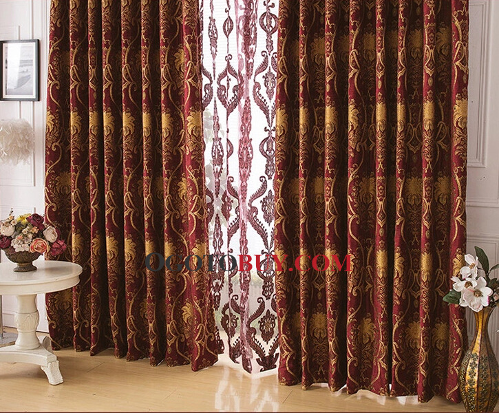 chenille good quality red bedroom curtains with jacquard style