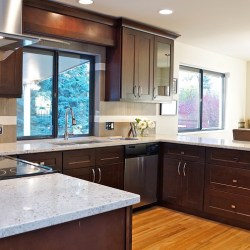 A beautiful kitchen with the Black Coffee Maple cabinets.