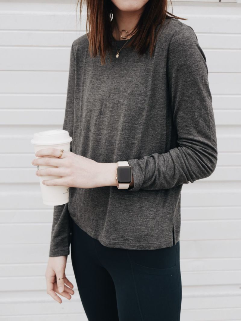 Long Sleeve Workout Top & Apple Watch: New Year Fitness Plan