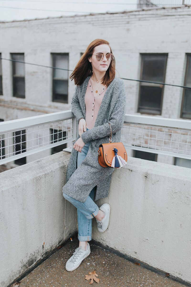long sleeve henley tee paired with grey cardigan