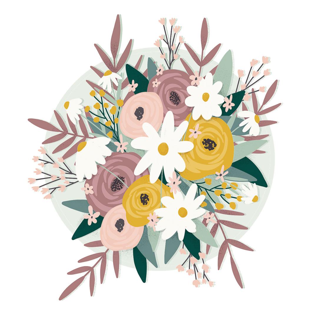 Oh Deer Design grafisch ontwerp illustratie bloemen botanisch boeket
