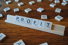 Profit Spelled Out Using Scrabble Squares