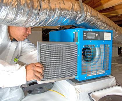 Dehumidifier in crawl space