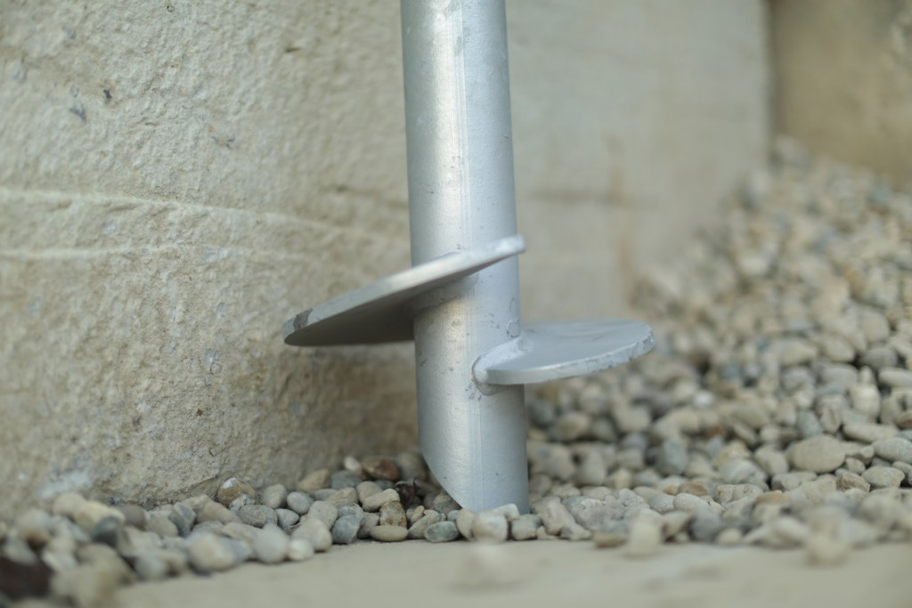 helical blade on concrete