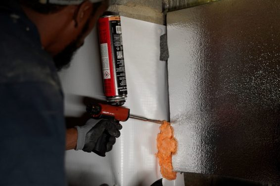 Thermal insulation installed in crawl space