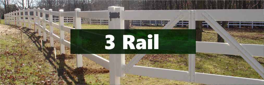 Vinyl 3-rail Horse Fence