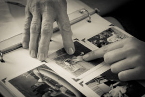 Remembering loved ones through photographs.