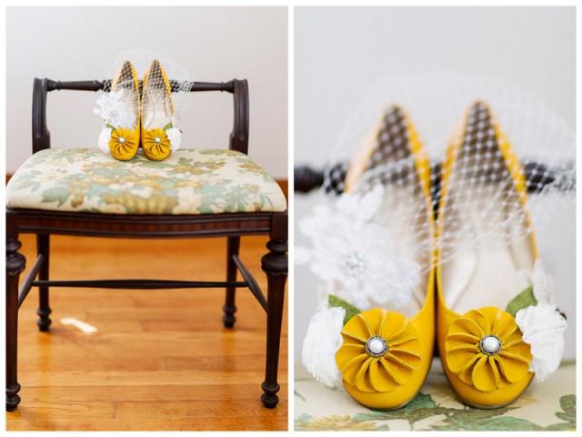 pretty yellow bridal shoes | handmade North Carolina wedding | Nathan Abplanalp Photography
