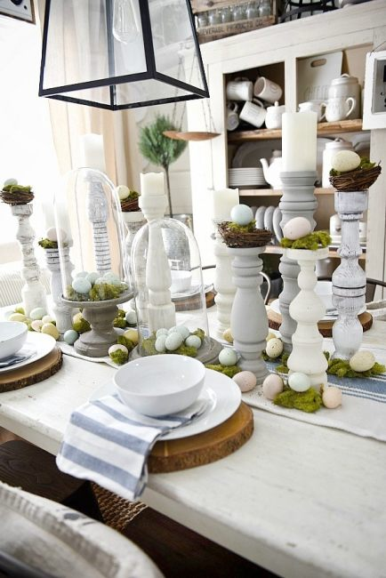 White Table Setting with Handmade White Candle Holders