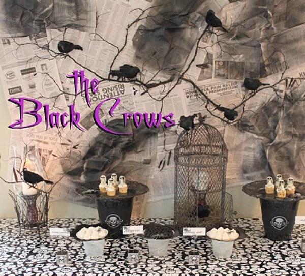 Halloween black crow dessert table