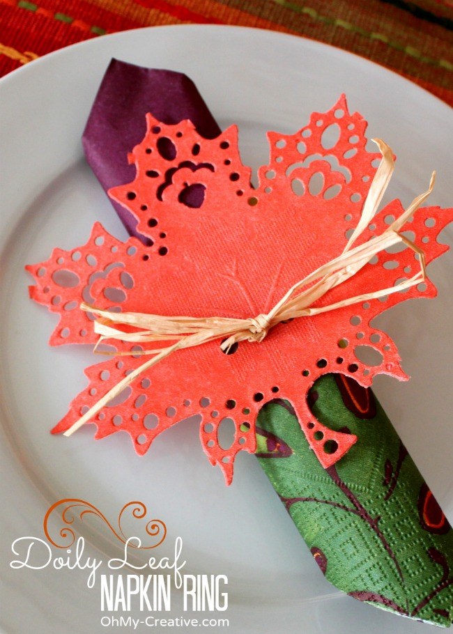 Fall Doily Leaf Napkin Ring - OhMy-Creative.com