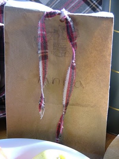 horse party and gift bags tied with  flannel