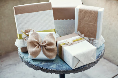 Beautiful Christmas Gift Wrap Of Linen and Lace
