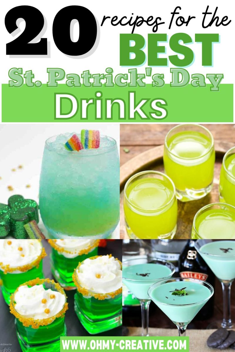St Patrick's Day Drinks featuring green cocktails, green boozy shakes, green jello shots, and more.