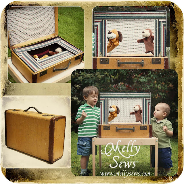 Vintage Suitcase Puppet Show Stage included in these 20 DIY Vintage Suitcase Projects and Repurposed Suitcases. Create unique home decor using repurposed old suitcases! | OHMY-CREATIVE.COM