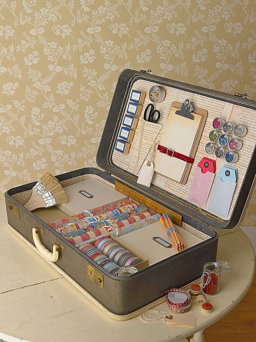 Vintage Suitcase Craft Supply Organizer included in these 20 DIY Vintage Suitcase Projects and Repurposed Suitcases. Create unique home decor using repurposed old suitcases! | OHMY-CREATIVE.COM