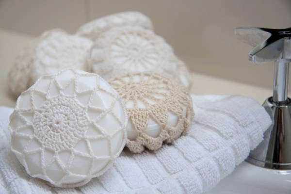 doily covered soap a great gift