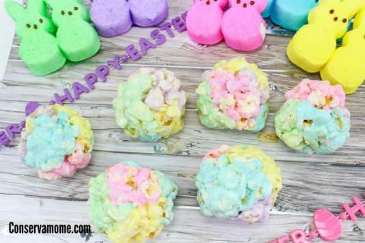 Popcorn Balls made with Peeps