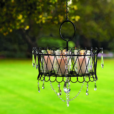 Wire Basket Outdoor Crystal Chandelier