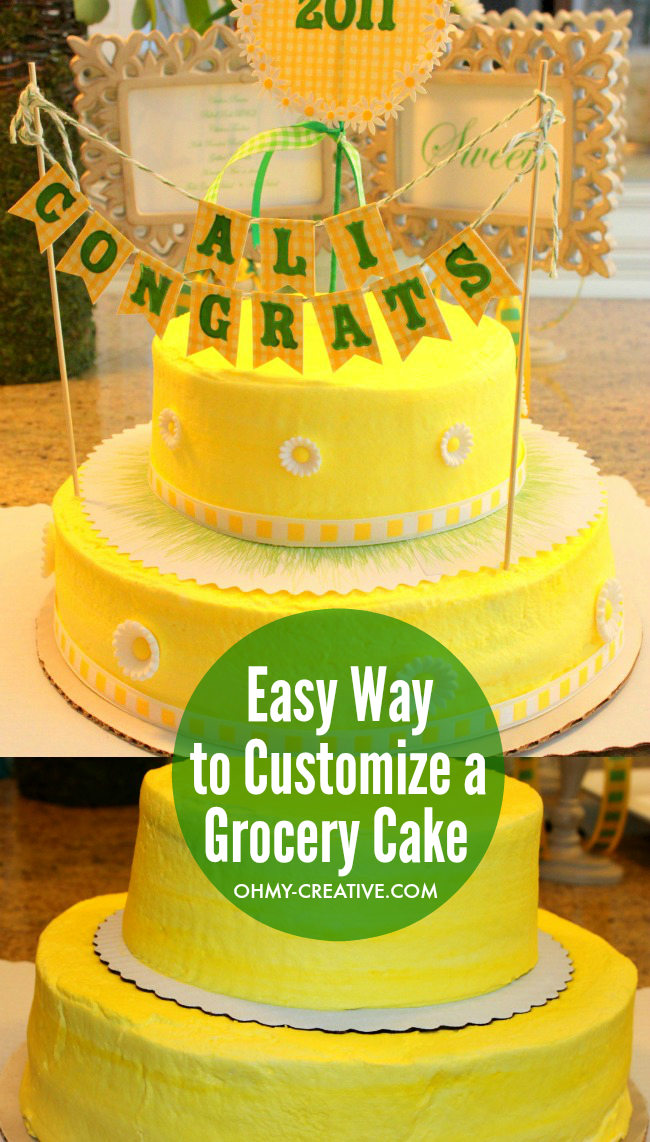 An Easy Way to Customize a Grocery Store Cake to a Designer Cake  |  OHMY-CREATIVE.COM