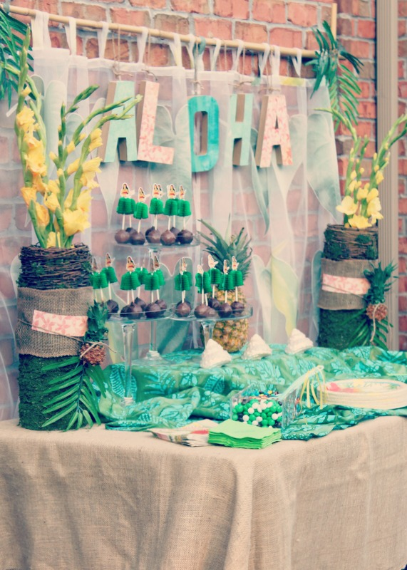 A Pretty Luau Party using soft colors in pink, turquoise and gold creating a vintage feel to this popular summer party theme. Oh what fun the guests had at this delightful summer party! | OHMY-CREATIVE.COM