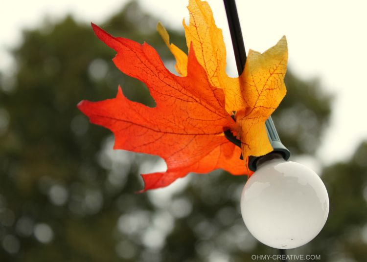 Close up of Fall leaves added to the outdoor lighting. So simple and transforms the space for any fall entertaining, bonfires or Octoberfest festivities! Autumn Leaf Patio Lighting