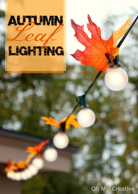Transform your patiio for Fall with this Autumn leaf lighting | OHMY-CREATIVE.COM