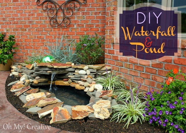 Diy garden waterfall and pond | OHMY-CREATIVE.COM | how to build a pond waterfall step by step