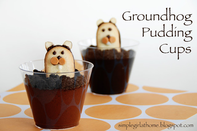 Groundhog Day Pudding Cups