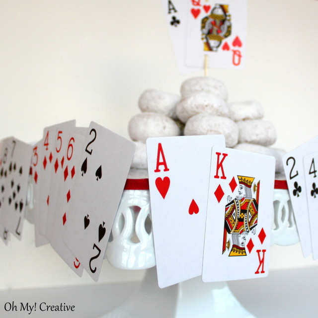 Casino poker playing card cake plate party decoration