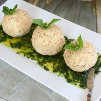 Parmesan Goat Cheese with Basil Oil