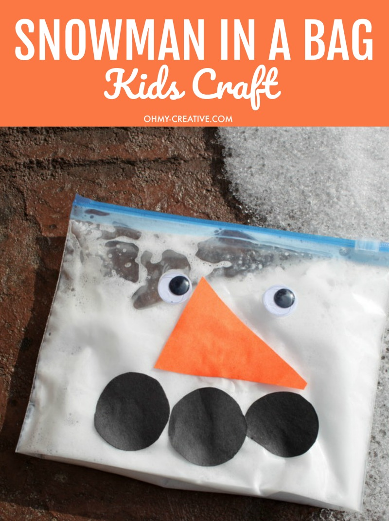 Snowman In A Bag Kids Craft | OHMY-CREATIVE.COM | Snowman Crafts | Snowman Craft Ideas | Build a snowman Kit | DIY Snowman Crafts | Easy Snowman Crafts | Snowman for Kids | Snowman Crafts for Toddlers | Preschool Snowman Craft | Winter Crafts for kids