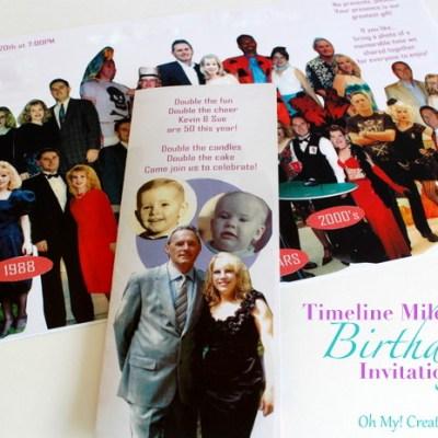 DIY Photo Timeline Milestone Birthday Invitation For 30th, 40th, 50th, 60th + Birthdays