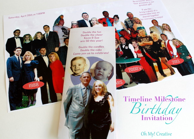 DIY Photo Timeline Milestone Birthday Invitations for 30th, 40th, 50th, 60th + Birthdays