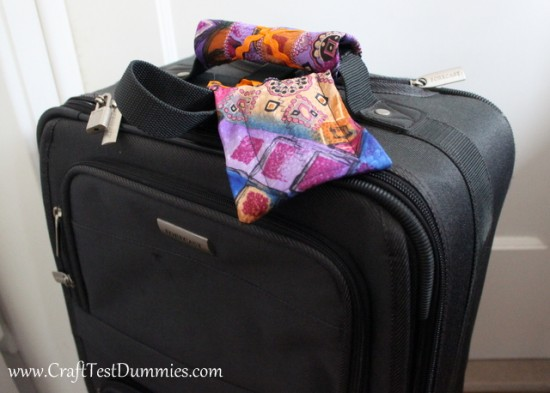 luggage handle cozies and tags from old neckties