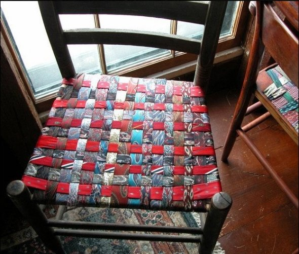 How to make chair seats from old neck ties
