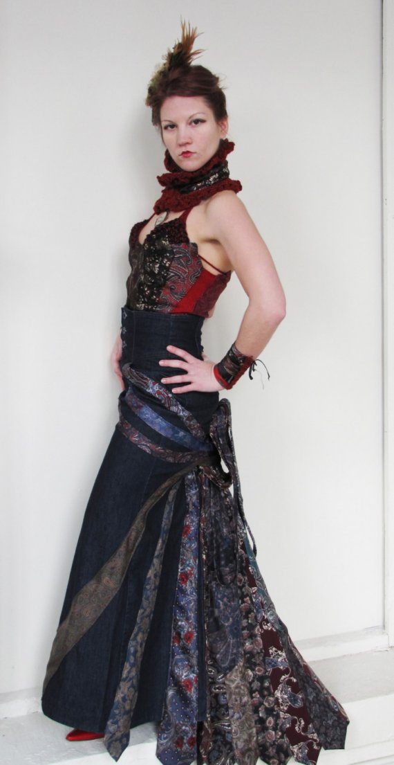 Victorian Steampunk upcycled silk tie bustier and jeans bustle skirt