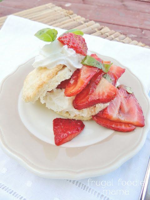 Strawberry Basil Sour Cream Shortcakes