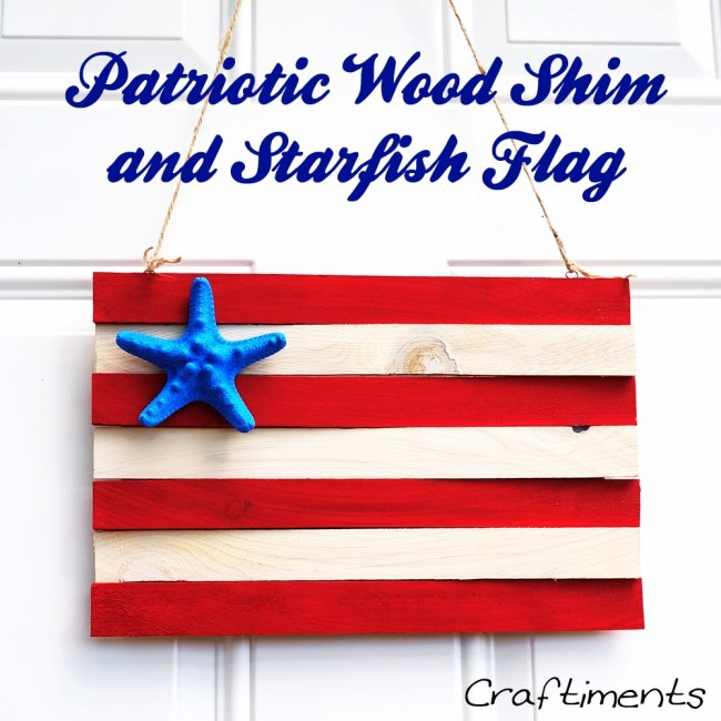 Patriotic wood shim and starfish flag