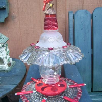 Upcycled Glass Bird Feeders