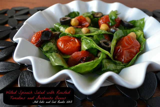 Wilted Spinach Salad with Roasted Tomatoes and Garbanzo Beans Recipe