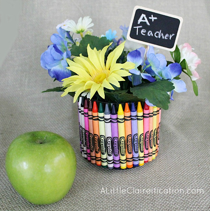Teacher gift vase made of crayons